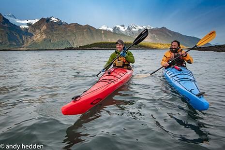 Two men on Kayak in Alaska